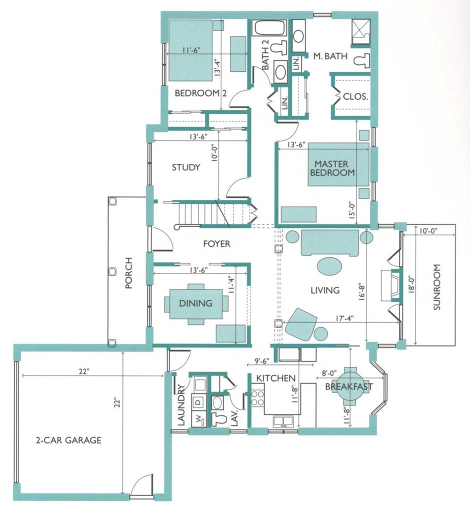 Floor plan of the Boxwood model Cottage