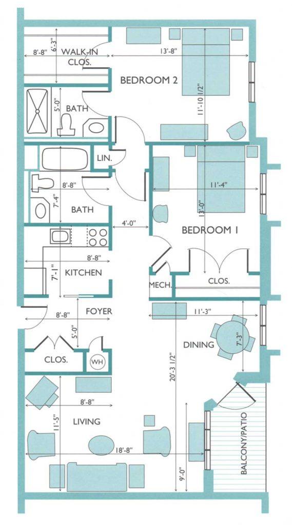 Floor plan of the Hydrangea model apartment