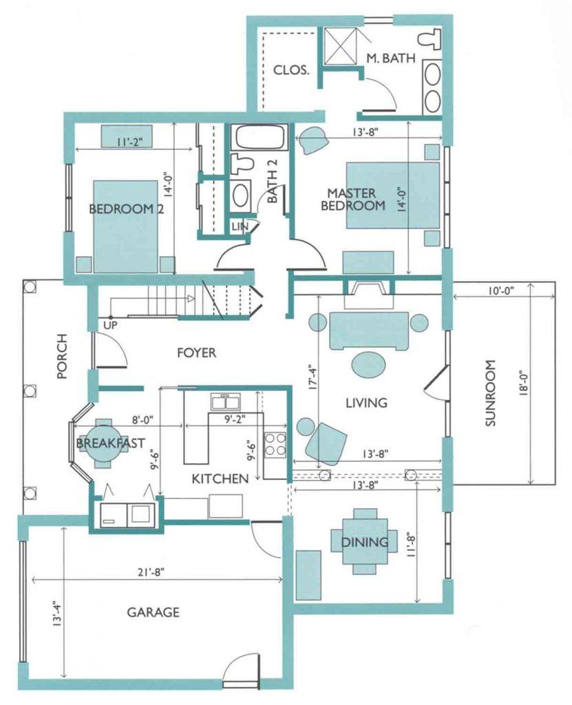 Floor plan of the Azalea model Cottage