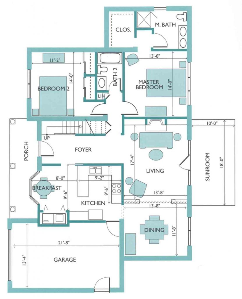 Floor plan of the Azalea model Cottage
