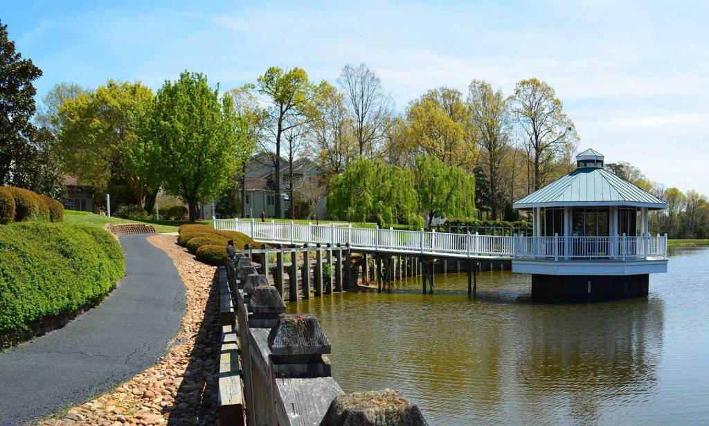 Spectacular lakefront scenery greets residents as they use the walkway toward the gazebo