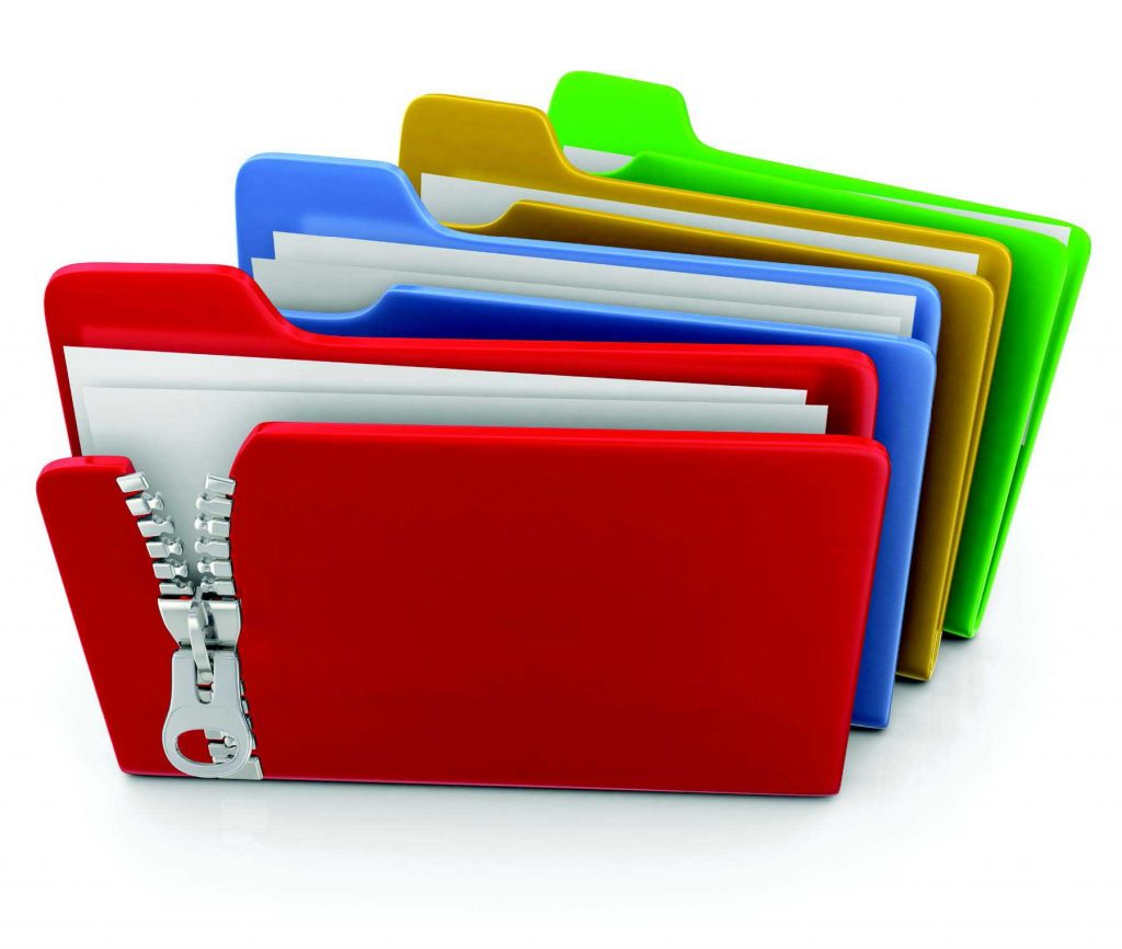clip art of four colored folders