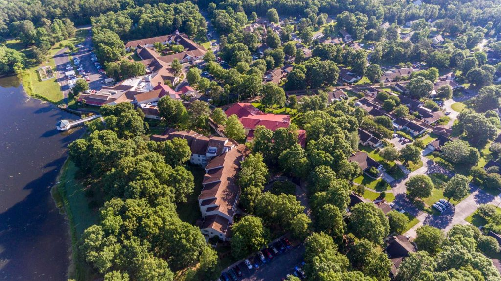 An aerial view of the Rappahannock Westminster Canterbury campus