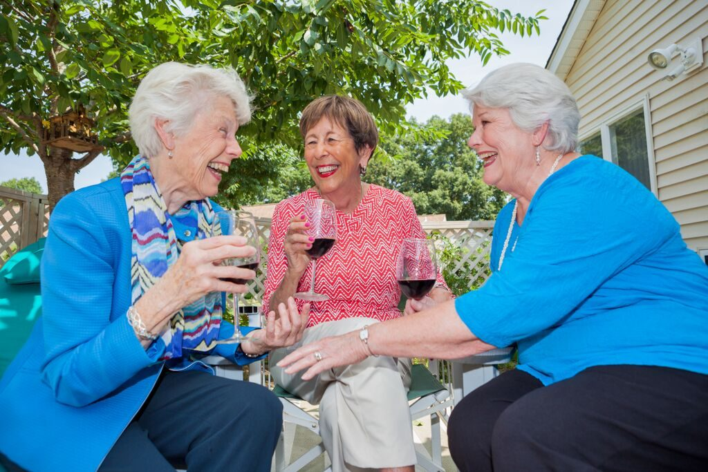 Three ladies enjoy conversation and fine wine.