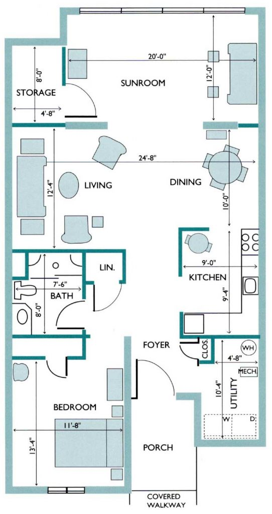 Floor plan of the Birch Deluxe Canterbury Cottage