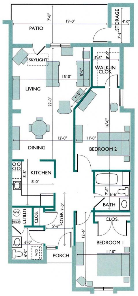 Floor plan of the Cedar Deluxe Canterbury Cottage