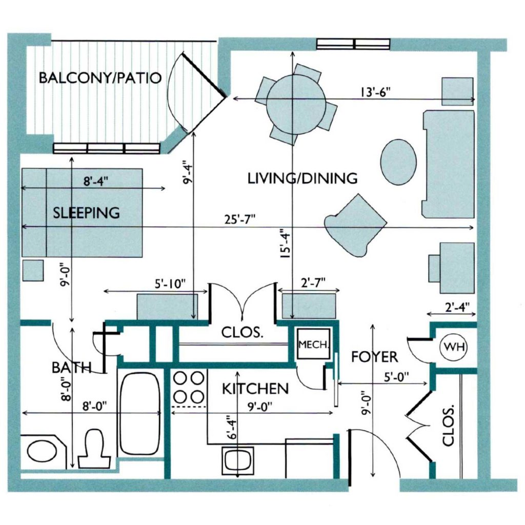 Floor plan of the Elm Westlake Apartment