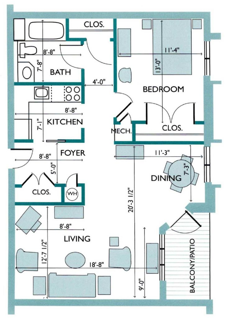 Floor plan of the Franklinia Westlake Apartment