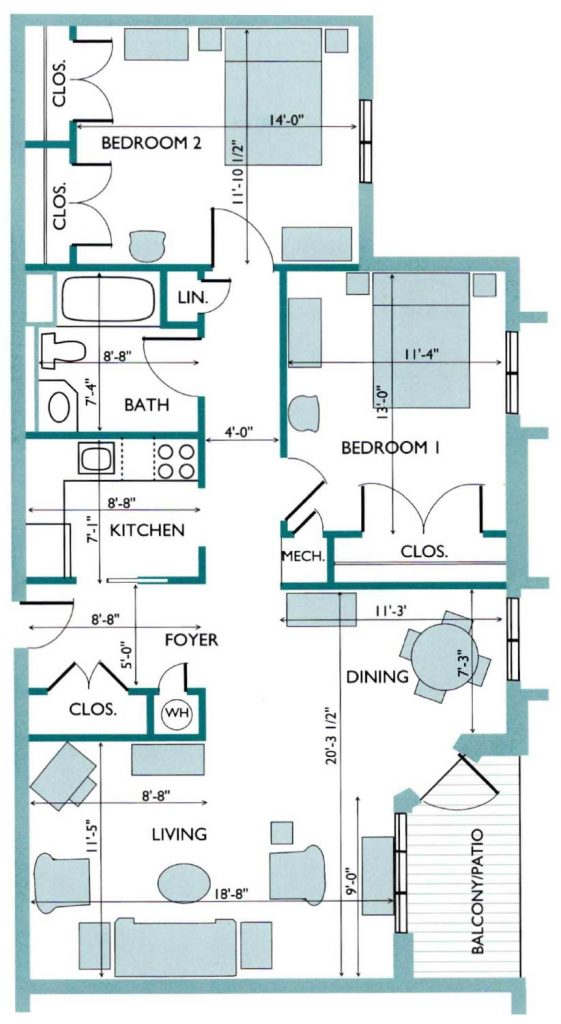 Floor plan of the Gardenia Westlake Apartment