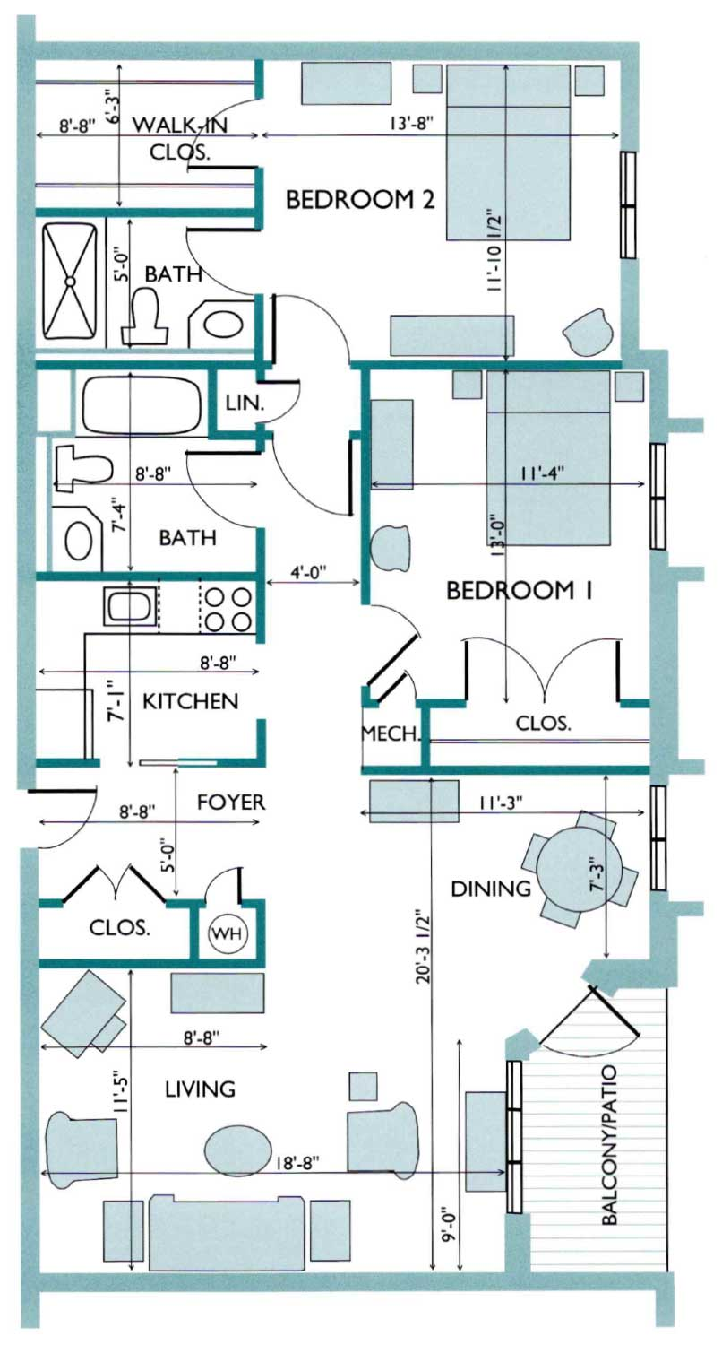 Floor plan of the Hydrangea Westlake Apartment