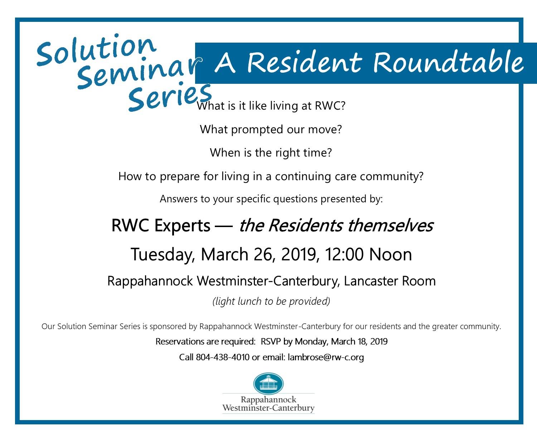 2019 Resident Roundtable Solution Seminar Rappahannock